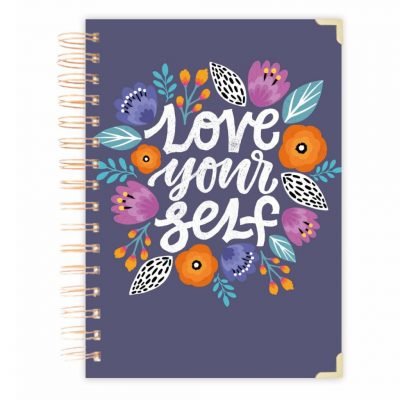 notebook journal purple floral diary