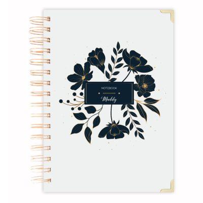 black-flowers-A5 notebook