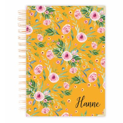 yellow floral diary journal A4 size