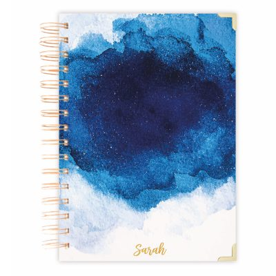 blue watercolor diary journal A5 size