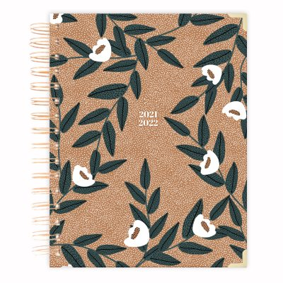 brown-dotted-floral-planner-diary-2021-2022