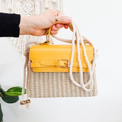 Woven Handbag in Camel Rope Handle Bag Shoulder Bag in Gold and Yellow