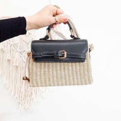 Woven Handbag in Black Rope Handle Bag Shoulder Bag in Gold and Black