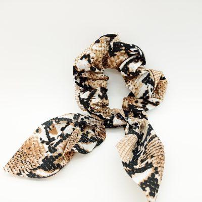 Bown Snake print Scrunchie Floral print Scrunchie Hair Accessories Women Accessories Silky Knotted Scrunchie