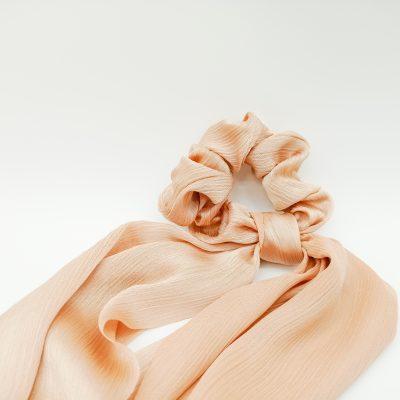Silky Nude Scrunchie Floral print Scrunchie Hair Accessories Women Accessories Silky Knotted Scrunchie
