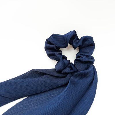 Silky Navy Scrunchie Floral print Scrunchie Hair Accessories Women Accessories Silky Knotted Scrunchie