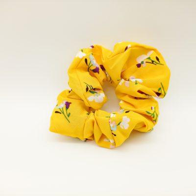 Silky Floral Scrunchie Floral print Scrunchie Hair Accessories Women Accessories Silky Yellow Scrunchie