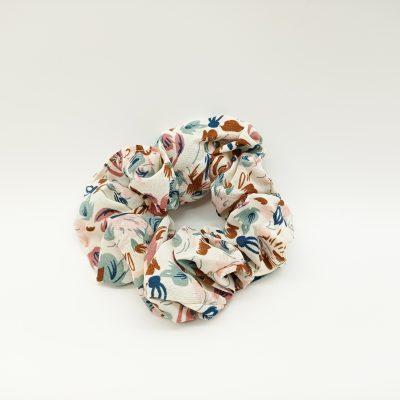 Silky Floral Beige Scrunchie Floral print Scrunchie Hair Accessories Women Accessories Silky Knotted Scrunchie