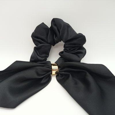 Silky Black Scrunchie Black satin hairband Black golden detail scrunchie
