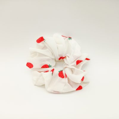 Silky Strawberry White Scrunchie Floral print Scrunchie Hair Accessories Women Accessories Silky Knotted Scrunchie