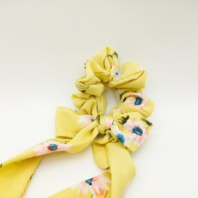 Silky Floral Yellow Scrunchie Floral print Scrunchie Hair Accessories Women Accessories Silky Knotted Scrunchie