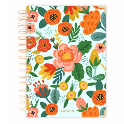 mint floral mid year-planner-diary-2021-2022